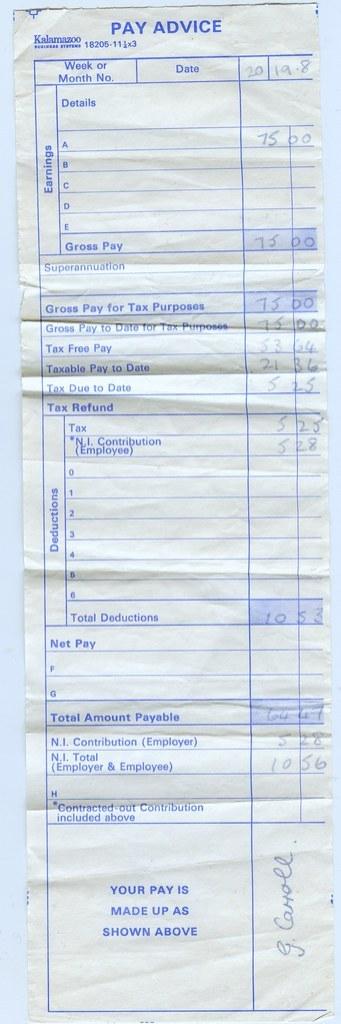 my first proper pay slip