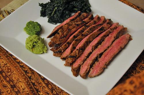 Beer-Marinated Flank Steak with Aji and Guacamole
