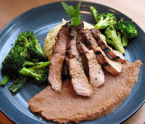 Grilled Pork Loin with Mint Applesauce