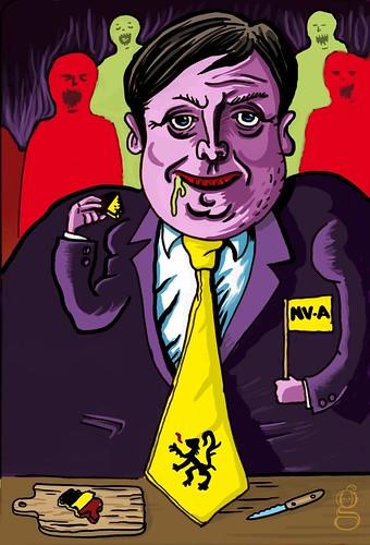 Qui veut dévorer la Belgique ? Caricature Bart de Wever et N-VA (illustration Gilderic)