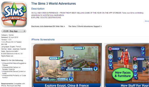 UK App Store - The Sims 3 World Adventures (iPhone/iPad/iPod Touch) now available