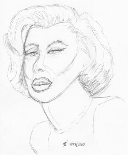 Marilyn Monroe, live drawn warm-up sketch on April 17, 2010