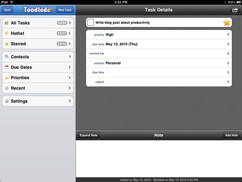 Toodledo on the iPad. Boring!