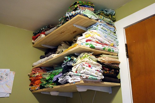 Clutter-Cleared Fabric Shelves
