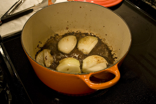 Cooking onion.