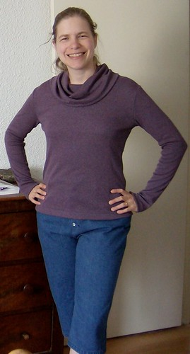 Purple cowl top and cropped jeans