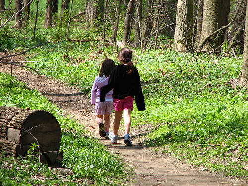 Sisters on a spring walk