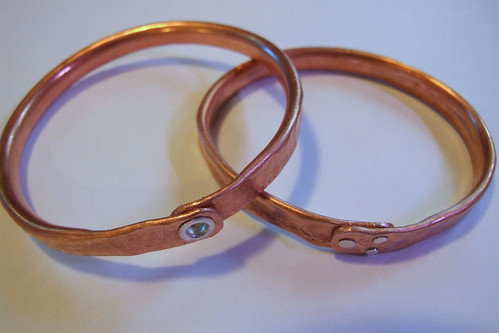 Riveted copper bangles
