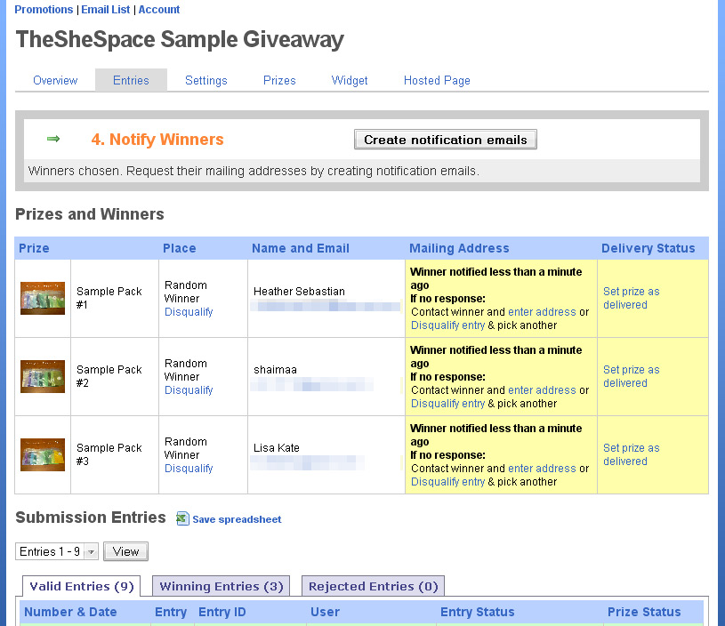TheSheSpace Sample Giveaway Winners