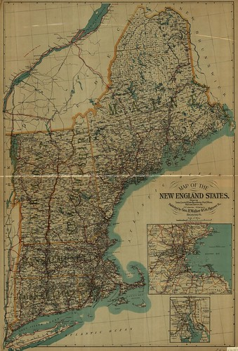Map of the New England States. Showing, State,...