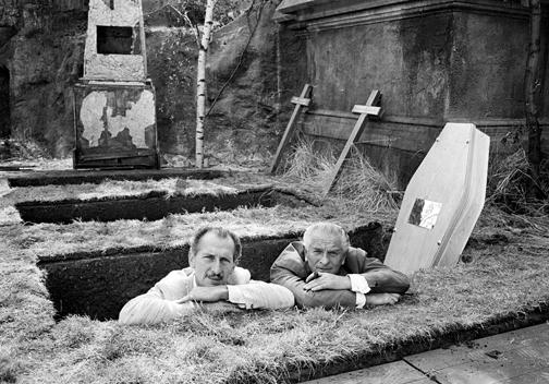 Peter Cushing & Anthony Nelson Keys at Bray Studios