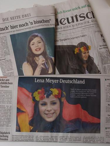 Lena nach dem Sieg beim Eurovision Song Contest 2010