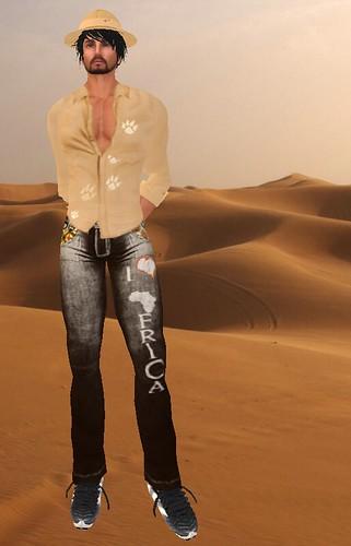 Crayon Designs Safari Shirt and Tropic Hat,D-Design Brown Africa Jeans
