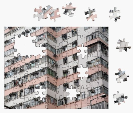 puzzel gebouw achtergrond wit