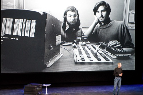Steve Jobs Onstage with Young Steve Jobs