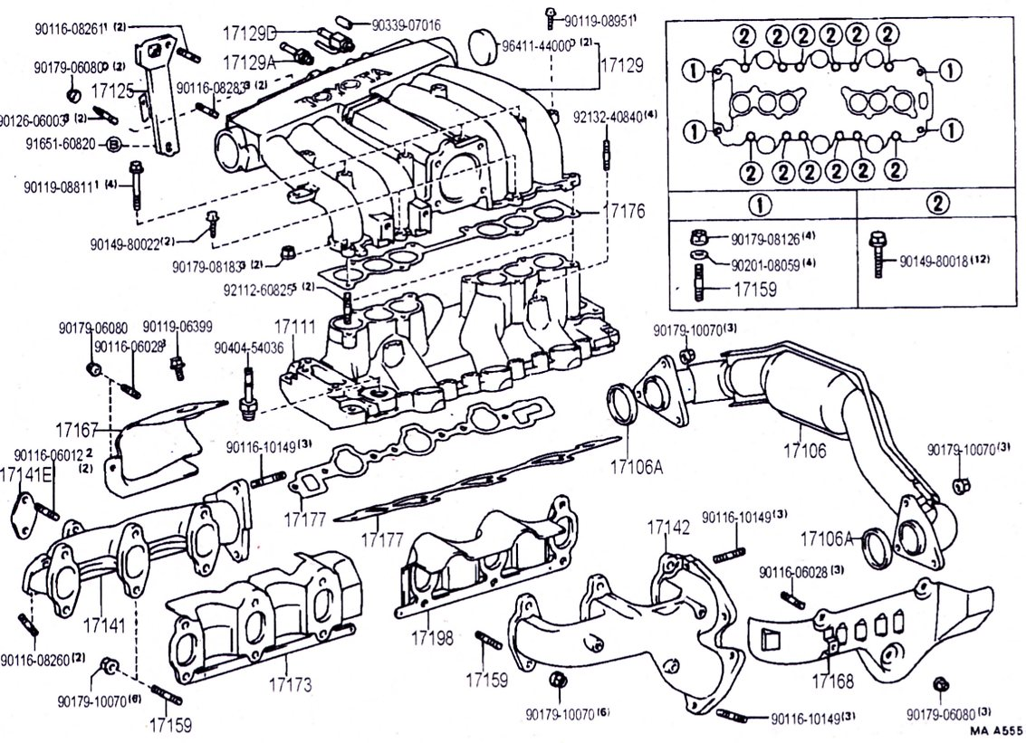 3vz Intake Manifold Hoses And Upper Injection Diagrams