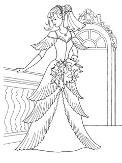 Princess in her Wedding Dress Coloring Page