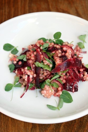 Israeli Cous Cous, Beetroot, Fresh Buffalo Cheese & Pea Shoots