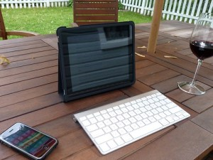 iPad backyard writing (wine optional)