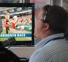 Nationals Park PA Announcer Jerome Hruska calls the presidents race