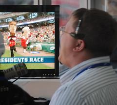 Nationals Park PA Announcer Jerome Hruska calls the presidents race