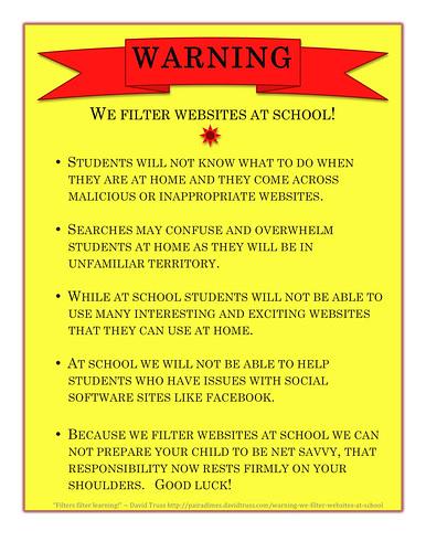 WARNING - We Filter Websites At School!