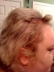 Gigi tried to bump my hair up w/bumpits. My head looks like a runaway truck ramp!