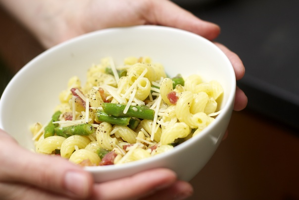 Pasta with Asparagus, Pancetta and Pine Nuts
