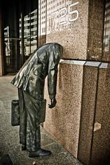 Headless salaryman sculpture