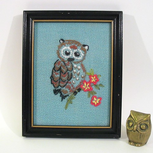 Crewel Owl Needlework Picture - Vintage