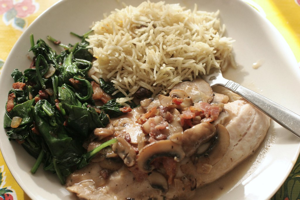 Fish with onions and the delicious bacon spinach