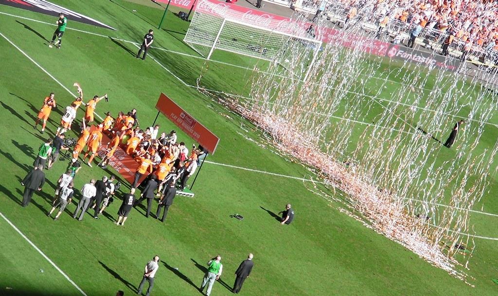 Wembley-Blackpool v Cardiff-Blackpool celebrate