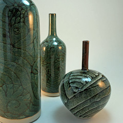 Christine Ball. Three bottles (tenmoku over chun)