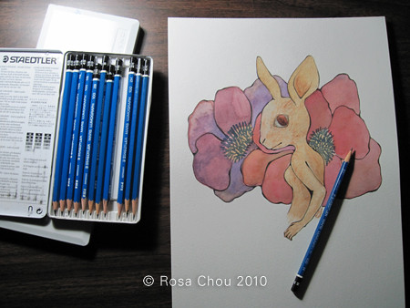 Untitled Rabbit - Finished watercolor, putting on another layer of pencil