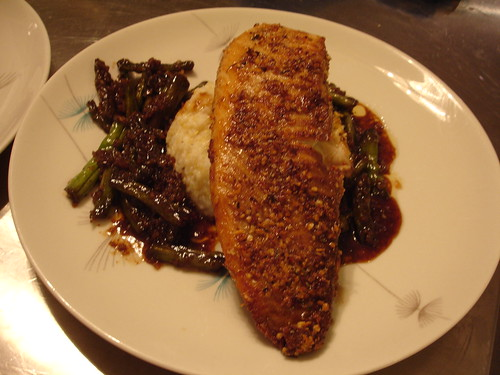 Pecan Encrusted Hawaiian Sunfish with Teriyaki Green Beans and Baked Grits