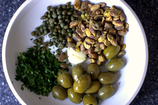capers, pistachios, olives, parsley, garlic