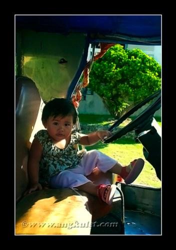 Lia driving a jeepney, Sinakan, Sabtang Island, Batanes
