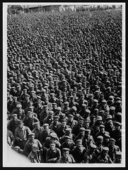 Every day a batch of prisoners of this size, taken on the British Sector of the Western Front, pass through one of the Clearing Depots