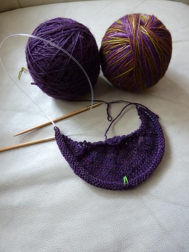 Daybreak progress and project yarn