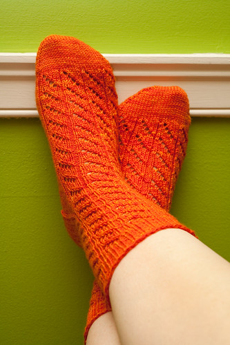 Diagonal Lace Socks (Crossed)