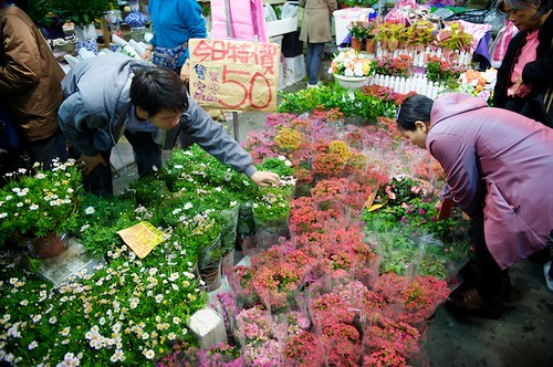 Shopping for flowers at the Taipei Jianguo Flower MArket