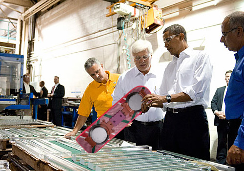 Barack Obama Looks At a Hoverboard