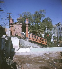 BH120 Angels Flight pavillion from the south, Bunker Hill, Los Angeles - November 1962.  This copyrighted photograph was taken by George Mann of the comedy dance team, Barto & Mann.jpg