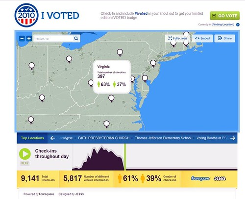 Foursquare on Election Day 2010