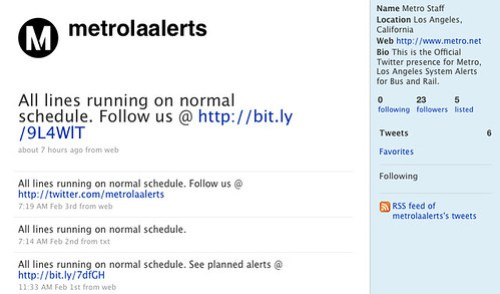 Metros new system for service alerts and updates uses the popular social networking tool Twitter.