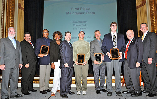 The Metro maintenance team poses with their awards at the APTA Rail Conference. Photo: Metro