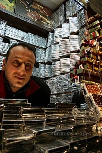 Close-up of inside chocolate kiosk in Beyoglu, Istanbul, Turkey