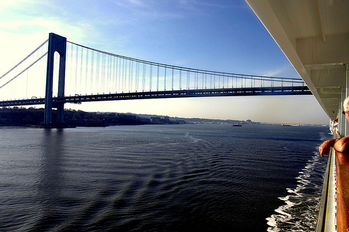 the verrazano went by our patio