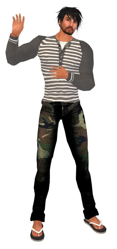 EQ Camo Pants guess and win, SFD Striped Longsleeve Shirt