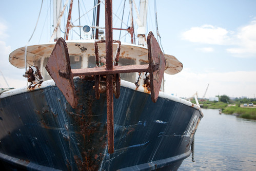 Unused fishing boats in Biloxi, Mississippi - TEDx Oil Spill Expedition